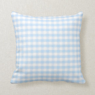 Light blue gingham pattern throw cushion