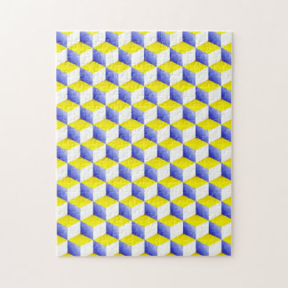 Light Blue Yellow White Shaded 3D Look Cubes Puzzle
