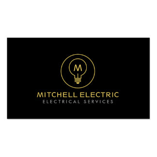LIGHT BULB MONOGRAM LOGO on BLACK for ELECTRICANS Pack Of Standard Business Cards