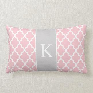 Light Pink Grey Moroccan Custom Monogram Throw Cushion