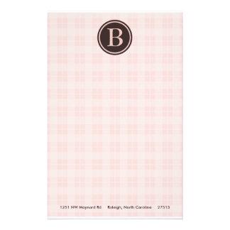 Light Pink Plaid Monogram Stationary Stationery