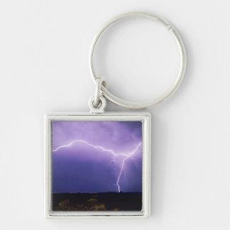 Lightning strike over desert, Big Bend Silver-Colored Square Key Ring