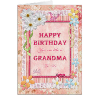 Like a grandma to me, craft birthday card