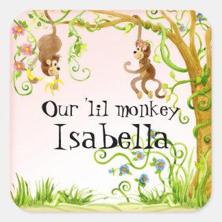 Lil Monkey, Girl Baby Shower Sticker Seal