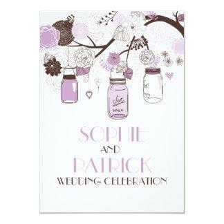 Lilac & Brown Mason Jars Floral Wedding Invitation