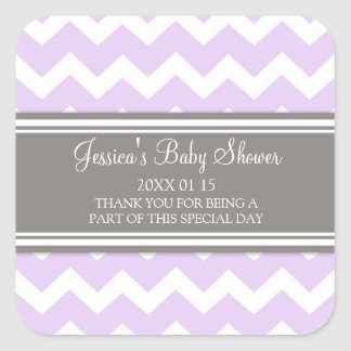 Lilac Grey Chevron Baby Shower Favor Stickers