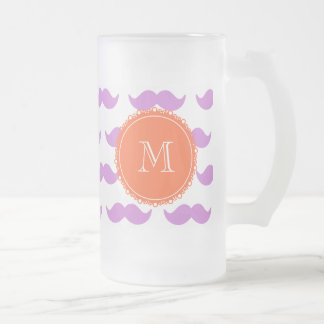 Lilac Mustache Pattern, Coral White Monogram Frosted Glass Mug