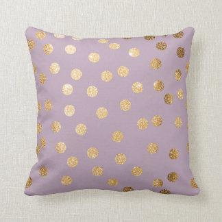 Lilac Purple and Gold Glitter Polka Dot Pillow Throw Cushion