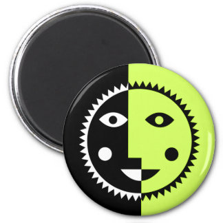 Lime Green Abstract Sun 6 Cm Round Magnet
