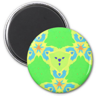 Lime Green Blue Abstract Bear Face Fractal Pattern 6 Cm Round Magnet
