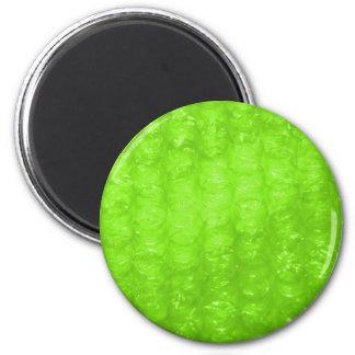 Lime Green Bubble Wrap Effect 6 Cm Round Magnet