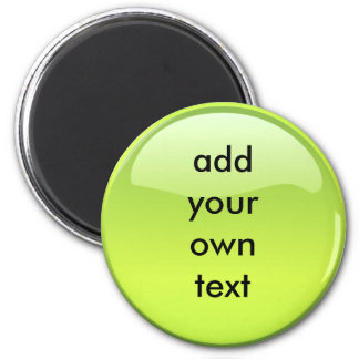 lime green button 6 cm round magnet