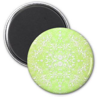 Lime Green Chartreuse Floral Damask 6 Cm Round Magnet