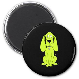 Lime Green Dog. Cute Hound Cartoon. 6 Cm Round Magnet