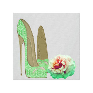 Lime Green Lace Stiletto Shoes and Rose Prints Gallery Wrap Canvas