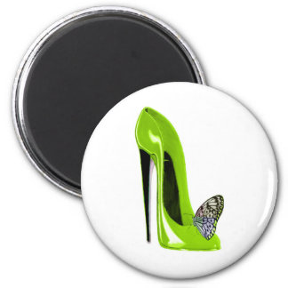 Lime green stiletto shoe and butterfly 6 cm round magnet