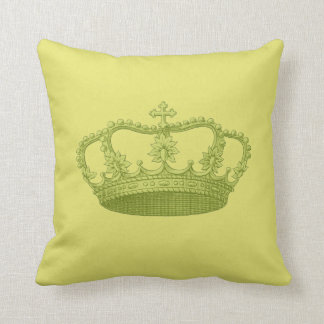 Lime Green Vintage Crown Greenish Yellow Backgrond Cushion