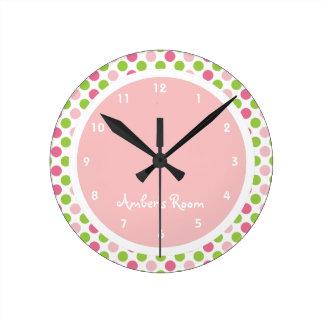 Lime & Pink Polka Dot Kid's Bedroom Clock