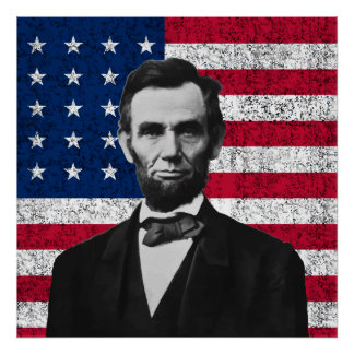 Lincoln and The American Flag Poster