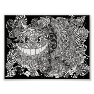 Line art depiction of the Cheshire Cat Poster