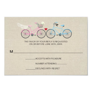 Linen Style Bicycle Pink Wedding Reply RSVP 9 Cm X 13 Cm Invitation Card