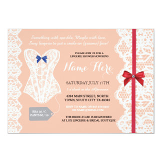 Lingerie Shower Invite Peach Red Bridal Party Lace