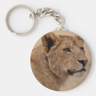 Lioness head closeup basic round button key ring