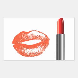 lipstick and lips rectangular sticker