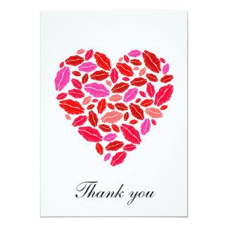 Lipstick heart - thank you note 13 cm x 18 cm invitation card