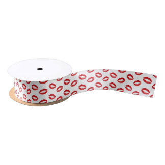 Lipstick Red Kisses Satin Ribbon