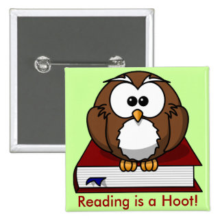 Literacy Awareness: Reading is a Hoot 15 Cm Square Badge