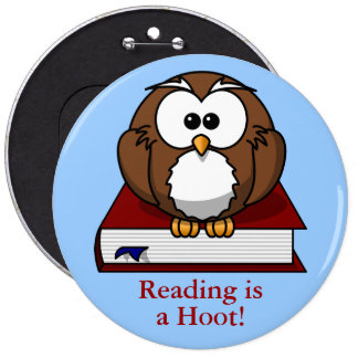 Literacy Awareness: Reading is a Hoot 6 Cm Round Badge