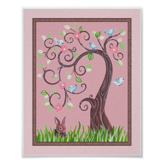 Little Blue Love Birds In a Tree Poster