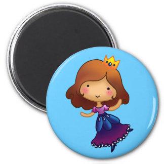 Little Brunette Princess 6 Cm Round Magnet