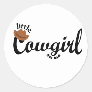 little cowgirl yeehaw round sticker