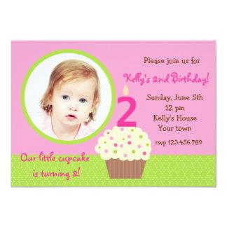 Little Cupcake girl Photo Birthday  Invitations