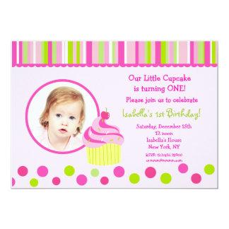 Little Cupcake Photo Birthday Party Invitations