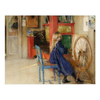 Little Girl at Spinning Wheel Postcard