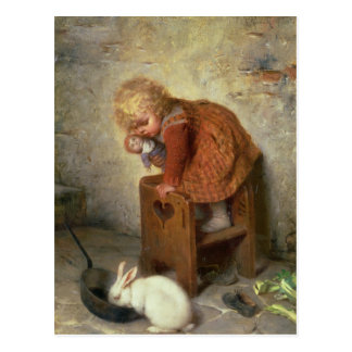 Little Girl with a Rabbit Postcard