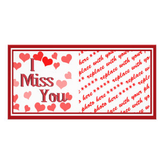 Little Hearts -  I Miss You Customized Photo Card