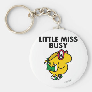 Little Miss Busy | Reading Time Basic Round Button Key Ring