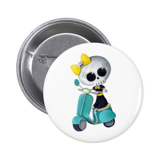 Little Miss Death on Scooter 6 Cm Round Badge