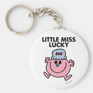 Little Miss Lucky | Black Lettering Basic Round Button Key Ring