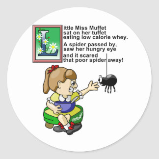 Little Miss Muffet Round Sticker