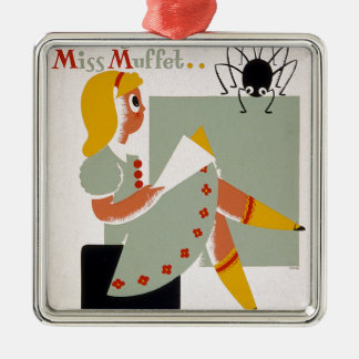 Little Miss Muffet Silver-Colored Square Decoration