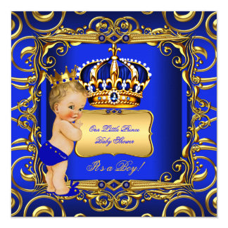 Little Prince Baby Shower Blue Blonde Baby Boy 13 Cm X 13 Cm Square Invitation Card