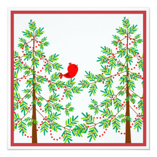 Little Red Bird in a Christmas Tree Party 13 Cm X 13 Cm Square Invitation Card