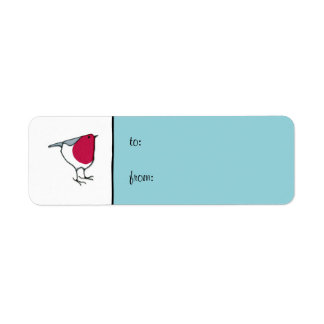 Little Robin blue small Gift Tag Label Return Address Label