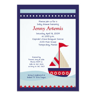 Little Sailboat Navy Boat Nautical Baby Shower 5x7 13 Cm X 18 Cm Invitation Card