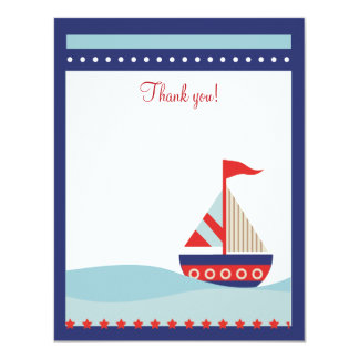 Little Sailboat Navy Naut 4x5 Flat Thank you note 11 Cm X 14 Cm Invitation Card